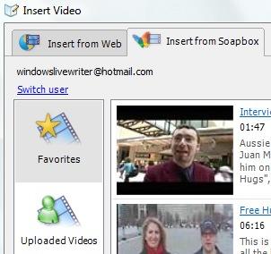 Windows Live Writer vidéo