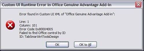 Custom UI Runtime Error in Office Genuine Advantage Add-in